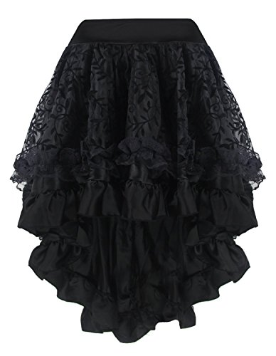 [Burvogue Women's Gothic Steampunk Costume Vintage Multi Layered Chiffon Skirt (XX-Large, Black8)] (Steampunk Gypsy Costume)
