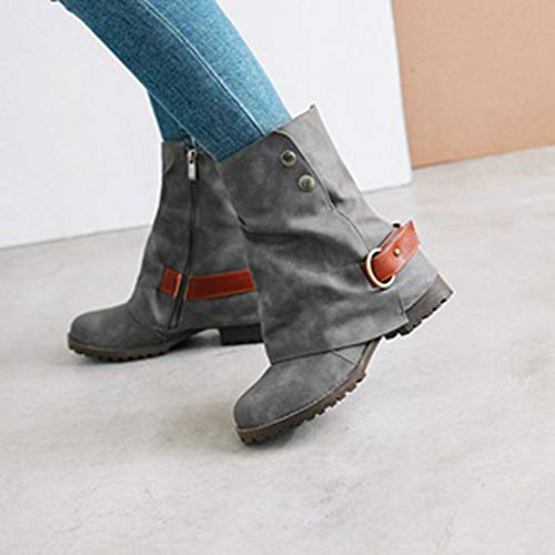 Las ALIKEEY Hebilla De Zapatos Botas Caliente Patchwork Gris De Cuero Delta Moda Artificial Corto Goretex Cuero De Mujeres OqrxOfw