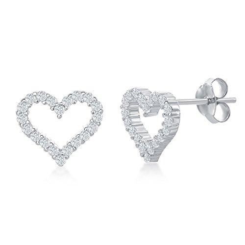 Sterling Silver Open Heart Cubic Zirconia Stud Earrings