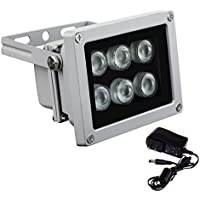 IR Illuminator 850nm 6pcs Array IR Lights Infrared Illuminator with DC 12V Power Adapter