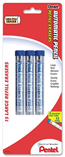 (Pentel Eraser Refills for Mechanical Pencils, Pack of 15 PDE-1 Eraser Refills (PDE1BP3-K6))