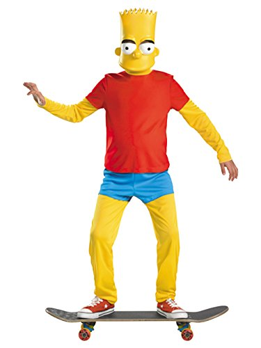 The Simpsons Bart Simpson Deluxe Costume, Red/Yellow/Blue, -