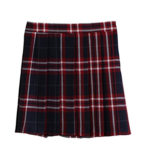 Women School Uniforms plaid Pleated Mini Skirt, Waist(84cm/33inch) 3XL, College -
