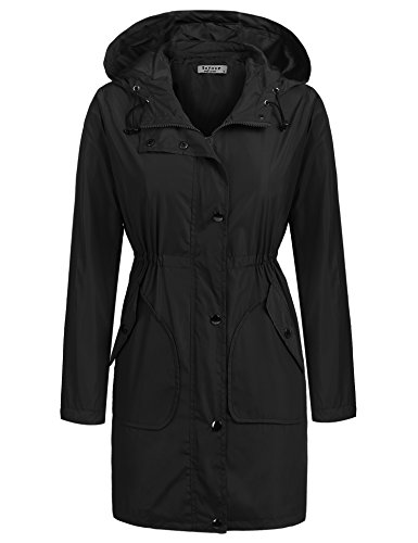 Beyove Women's Waterproof Lightweight Outwear Hooded Long Rain Jacket Coat Anorak Black - Raincoat Long Black