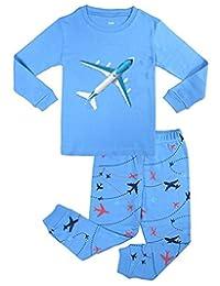 "Babylike ""plane"" little boys 2 Piece Pajama 100% Cotton(Size 2-7 Years)"