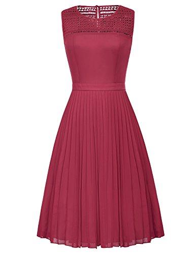 Pleated Skirt Dress - Women Vintage High Waist Stretchy Pleated Dress Skirt Wine Red Size M BP461-2