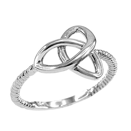 High Polish 925 Sterling Silver Twisted Style Rope Band Trinity Knot Ring (Size 6.75)