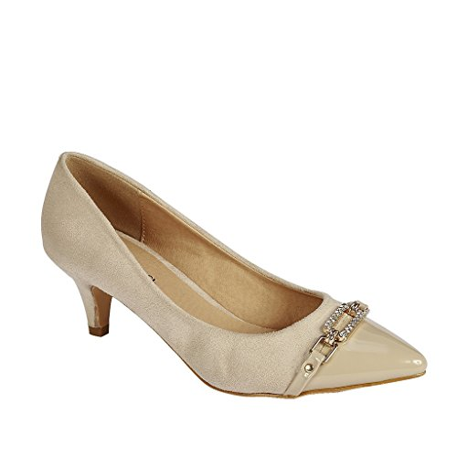 Embellished Fashion - Coshare Women's Fashion Patent Embellished Front Low Heel Pumps, Beige, 6.5 M US