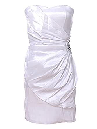 Strapless Fitted Ruched White Sweetheart Neckline Nylon Cotton Rhinestones Dress