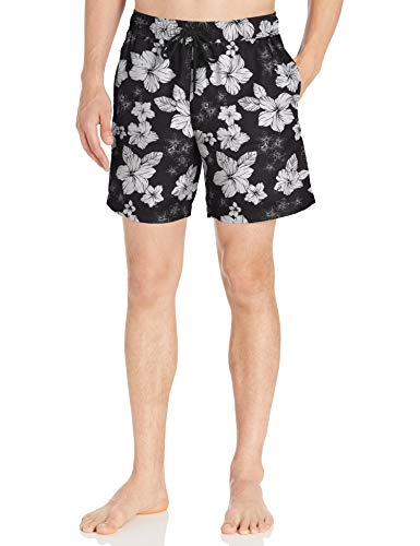 Amazon Essentials Herren Badehose 17,8 cm, Black Hibiscus Print, X-Small