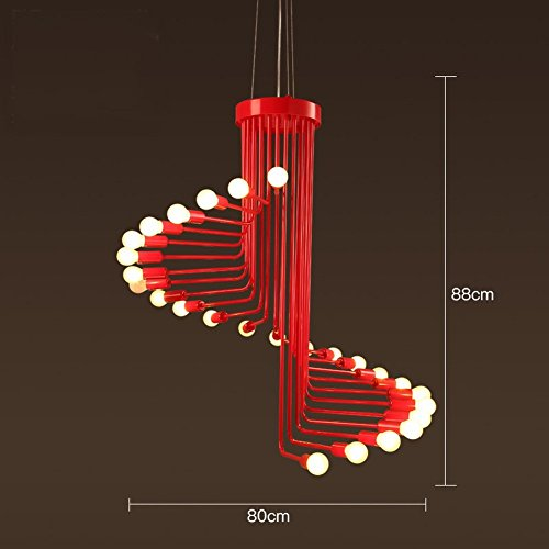 DHG Retro industrial wind staircase chandelier creative personality American bar table coffee restaurant living room wrought iron spiral lamps,Red,26 heads - 26' Height Table Lamp
