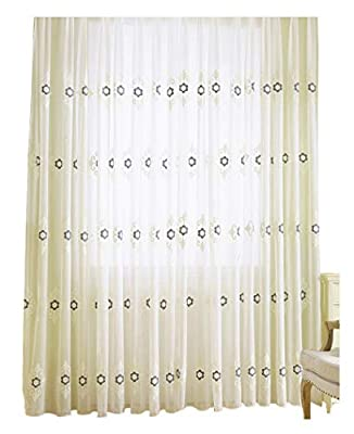 European Sheer Widow Graphic Embroidered Curtains Rod Pocket Top Voile Treatments Panels Drapes for Living Room & Bedroom
