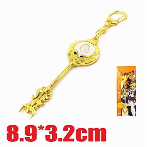 Cosplay Fairy Tail Keys, Lucy Heart Key Chain Celestial Spirit Gate Keyring, Zodiac Keys and Keyring, (狮子座 Leo)