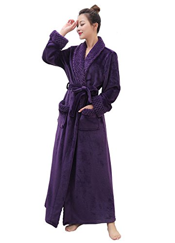 Artfasion Women's Long Flannel Bathrobe Ultra Soft Plush Microfiber Fleece Robes,Purple,Large/X-Large
