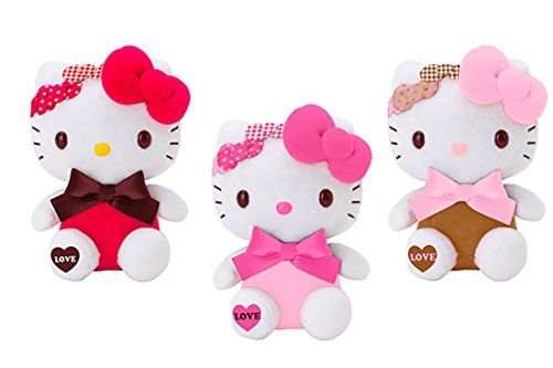 (SANRIO Hello Kitty Triple Bow Love Design Plush Toy Small Mascot Size Special Edition --1 Piece per Order-- 3 Colors to Choose from.)