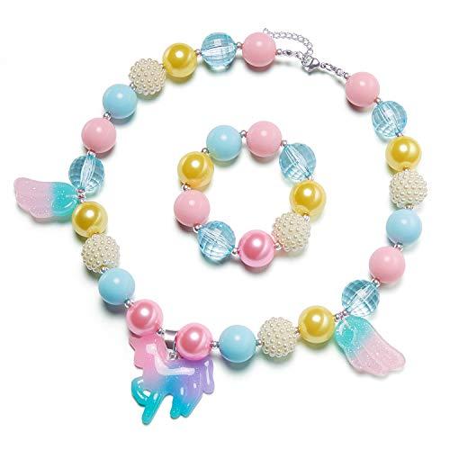 vcmart Girls Chunky Necklace and Bracelet Set Bubblegum Gumball Beads Girls Birthdays Gift Pony Pendant
