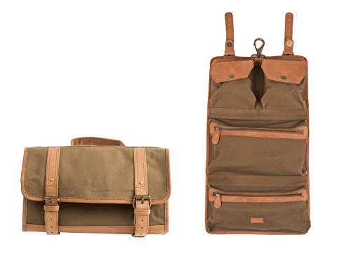 Dwellbee Canvas and Leather Hanging Toiletry Bag (Olive Canvas, Tan Cowhide)