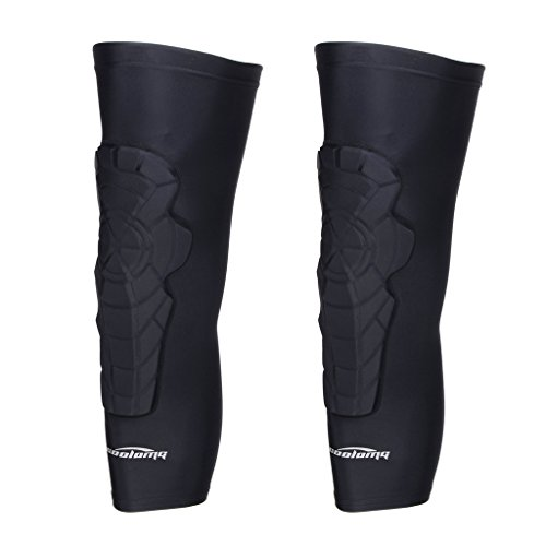 COOLOMG 2 Packs (1 Pair) Kids Adult EVA Pads Crashproof Basketball Leg Knee Long Sleeve Protector Gear Black - Football Long Sleeve Adult
