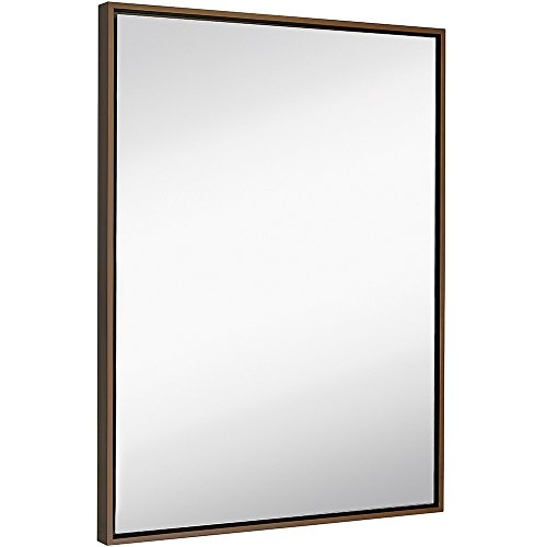 Hamilton Hills Clean Large Modern Copper Frame Wall Mirror | Contemporary Premium Silver Backed Floating Glass Panel | Vanity, Bedroom, or Bathroom | Mirrored Rectangle Hangs