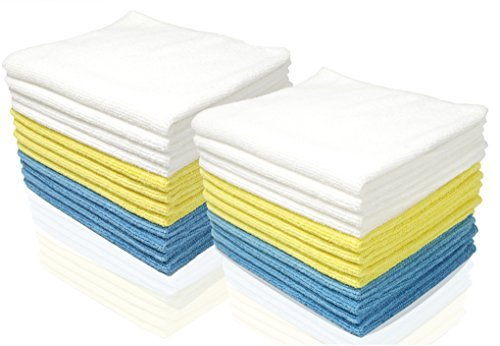 Royal Reusable Microfiber Cleaning Cloth Set - 12 x 16 Inch Microfiber Cloth - (48 Pack) Washcloth, Auto Detailing Supplies – Cleaning Rags, Works Great with Windex