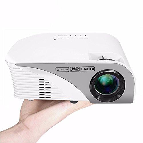 ELEGIANT Mini HD Beamer 1200 lumens LED Beamer Mini HD Multimedia LCD Projector für Heimkino Home Cinema Theater Unterhaltung Bildung Ausbildung 1080P HD HDMI AV USB VGA SD