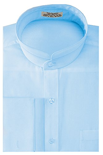 Sunrise Outlet Men's Solid Banded Collar French Cuff Dress Shirt - Light Blue 15.5 34-35