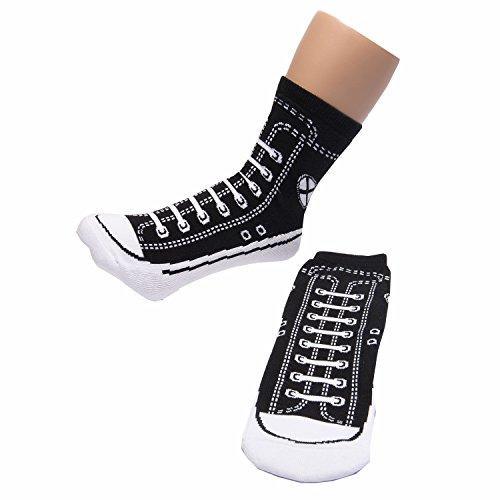 B&EGG Anti Slip Sneaker Like Crew Cut Socks Unisex Adult Size 5 to 11 (Black ()