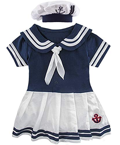 COSLAND Baby Girls' 2 Pieces Sailor Dress Bodysuit with Hat (Royal Blue, 6-12 Months)