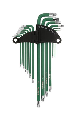 ARES 70166 | 13-Piece Extra Long Arm Star Key Wrench Set | Chrome Finish with Green High Visibility Anti-Slip Coating | Convenient Storage Case Included