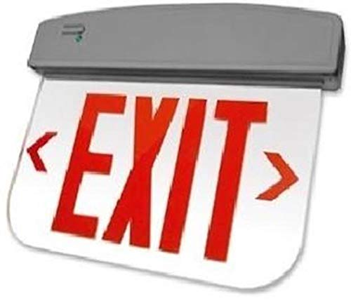 (Edge Lit Exit Sign, Flame Retardant, High-Impact Resistant Thermoplastic, Red Letters, Mirror Finish Panel, Black Housing, AC Only)
