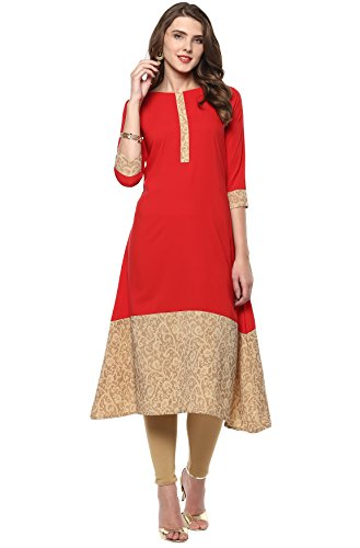 Janasya Indian Tunic Tops Crepe Kurti for Women (JNE2101-KR-210-XL) Red