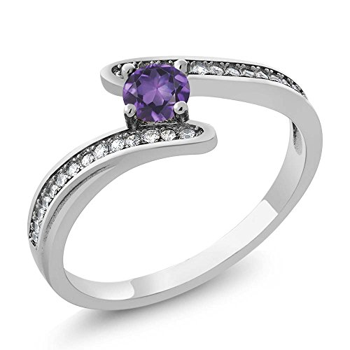 0.68 Ct Round Purple Amethyst Platinum Plated Swirl 925 Sterling Silver Bypass Ring ()