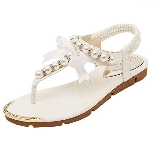 Scothen Sandalias de tacón Casual tarde Peep Toe mujeres de las sandalias planas de la hebilla de las sandalias romanas sandalias planas del Rhinestone correa del clip zapatos deslizadores de Bohemia White