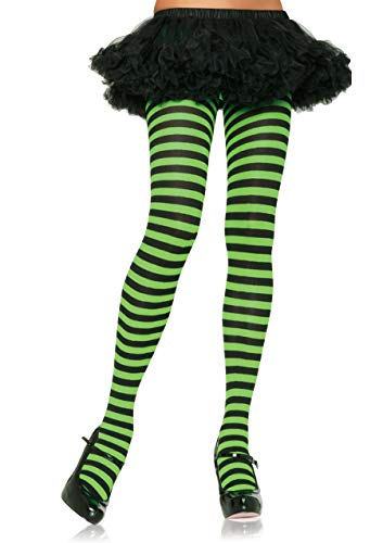 Leg Avenue Women's Nylon Striped Tights, Black/Lime, One