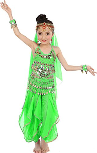 [Astage Girls Oriental Belly Dance Sets Costumes All accessories Green M(Fits 5-7 Years)] (Pictures Of Jazz Dance Costumes)