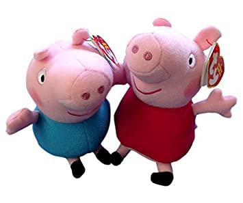 Official Peppa Pig and George Ty Beanie Soft Cuddly Plush Pair - 6 inch 46b709f4db7d