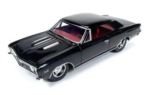 1967 Chevrolet Chevelle SS Tuxedo Black with Red Stripes 1/24 by Autoworld AW24006