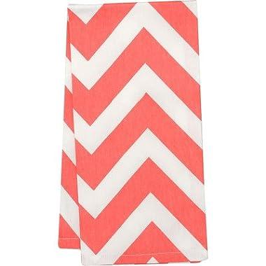 Chevron Kitchen Towel (Set of 2) Color: Coral/White