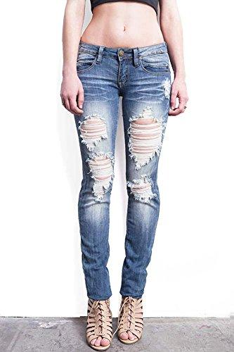 d989a41aefe Jual Machine Women s Juniors Low Rise Distressed Skinny Jeans ...