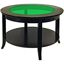Winsome Wood Round Coffee Table, Espresso - Full Color Emerald Green - Additional Vibrant Colors Available by TableTop King