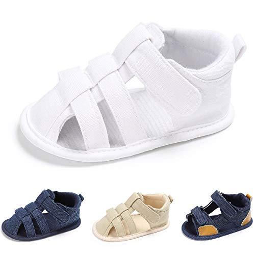 Baby Boys Girls Summer Sandal Soft Sole Anti-Slip Infant Crib Shoes(0-6 Months M US Infant,White)