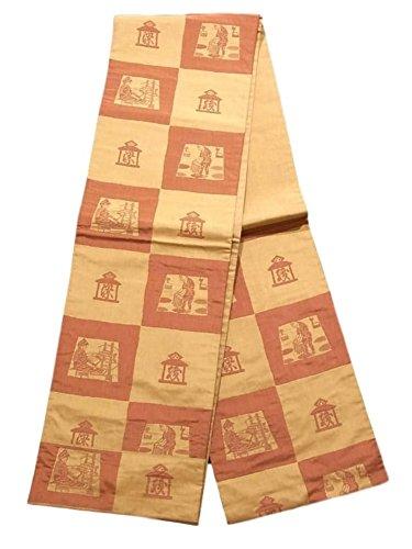 エコーセンサーどっちでも木屋太謹製 リサイクル 袋帯 市松取りに染師と織師 正絹 六通