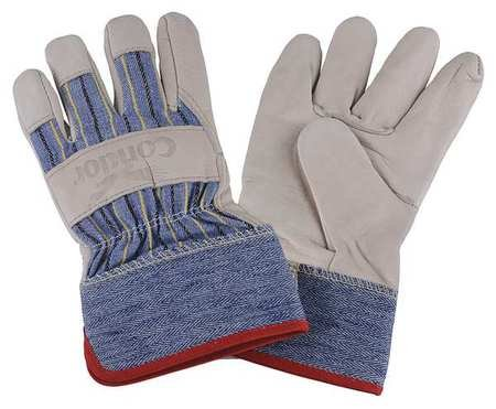 Condor Leather Gloves - Condor Cowhide Leather Palm Gloves with Safety Cuff, Blue/Tan, XL - 3AT34