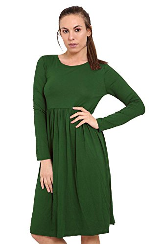SWING Midi Dress Jersey Long Sleeve GREEN DRESS Swing Womens Dress BOTTLE 21FASHION Ladies Dress Frankie PqHyzT