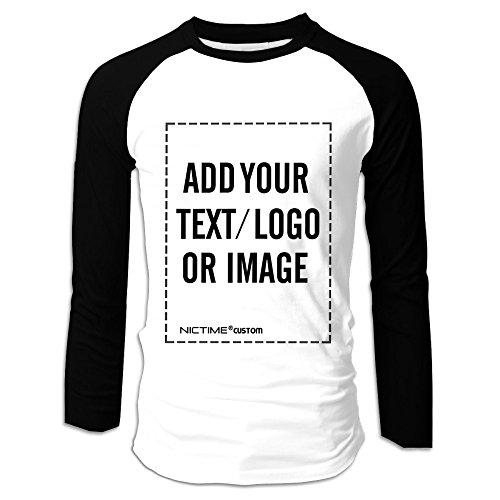 (NICTIME Customized Long Sleeve Raglan T shirt Men Print Image or Text (L, Longsleeve Raglan Tee-Black))