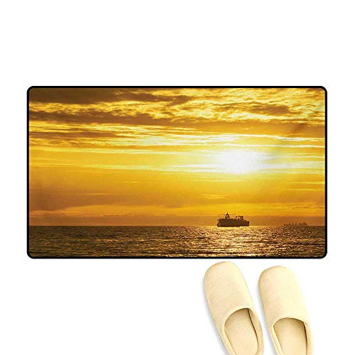Bath Mat,Cargo Ship Sailing Away When Sun Goes Down Disappears with Mystical Rays Art Photo,Door Mat Indoors,Yellow,32