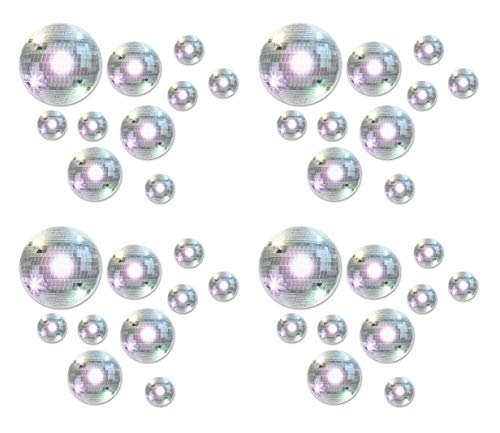 Beistle 52147 40Piece Disco Ball Cutouts, Assorted Sizes, -