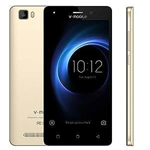 "4G Moviles Libres Baratos 9Pcs 5.0"" Telefono Móvil Android 7.0 Batería 2800mAh 8GB ROM Cámara 5 MP Dual SIM v·mobile A10 - Smartphone libres (Oro Blanco Negro opcional)(Oro)"