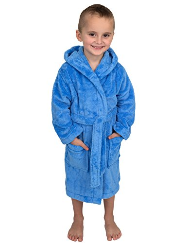 TowelSelections Little Boys' Robe, Kids Plush Hooded Fleece Bathrobe Size 6 Azure -