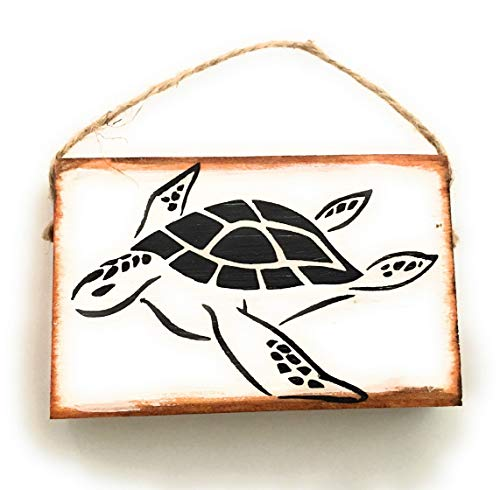 (Mini Tropical Sea Turtle Hanging Sign Ornament, Hand Crafted Wood Ornament Sign, 4 x 2.5 x .75 inches.)